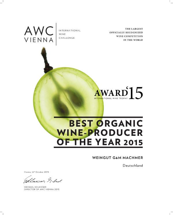Machmer Weingut GalaUrkunde AWC Vienna Award