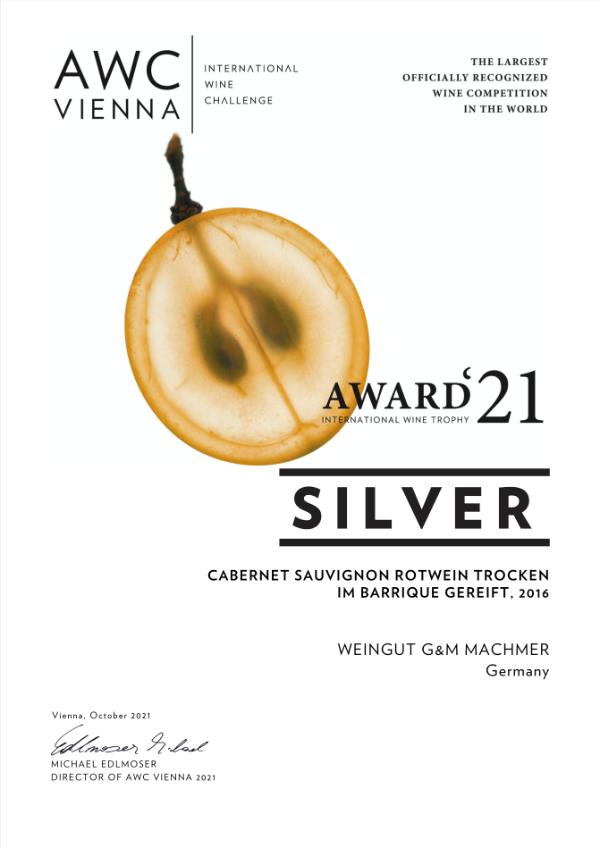 Weingut Machmer Auszeichnung - AWC-Cabernet Sauvignon Rotwein Trocken Barrique