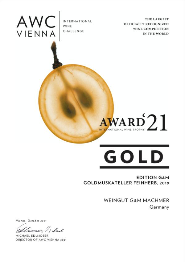 Weingut Machmer Auszeichnung - AWC-Goldmuskateller Feinherb