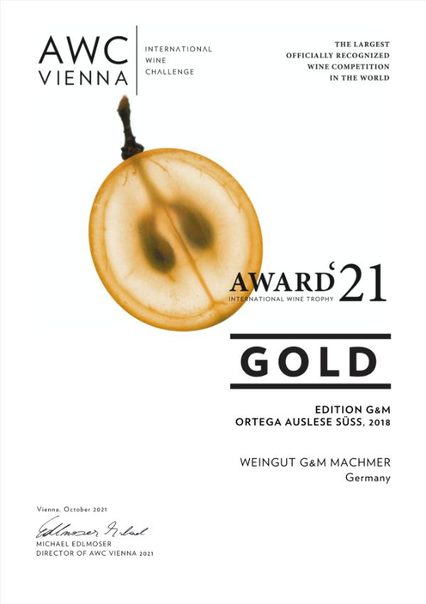 Weingut Machmer Auszeichnung - AWC-Ortega Auslese Süss