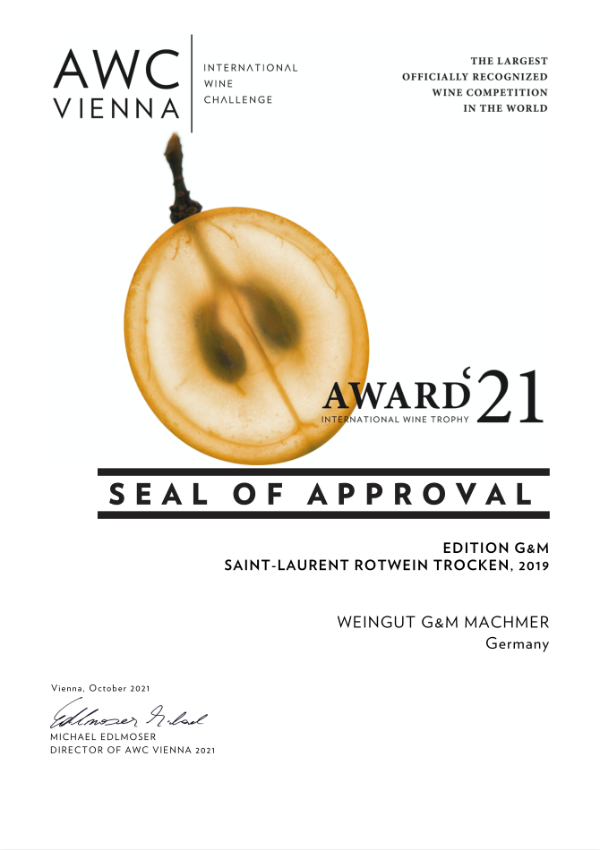 Weingut Machmer Auszeichnung - AWC-Saint Laurent Rotwein Trocken